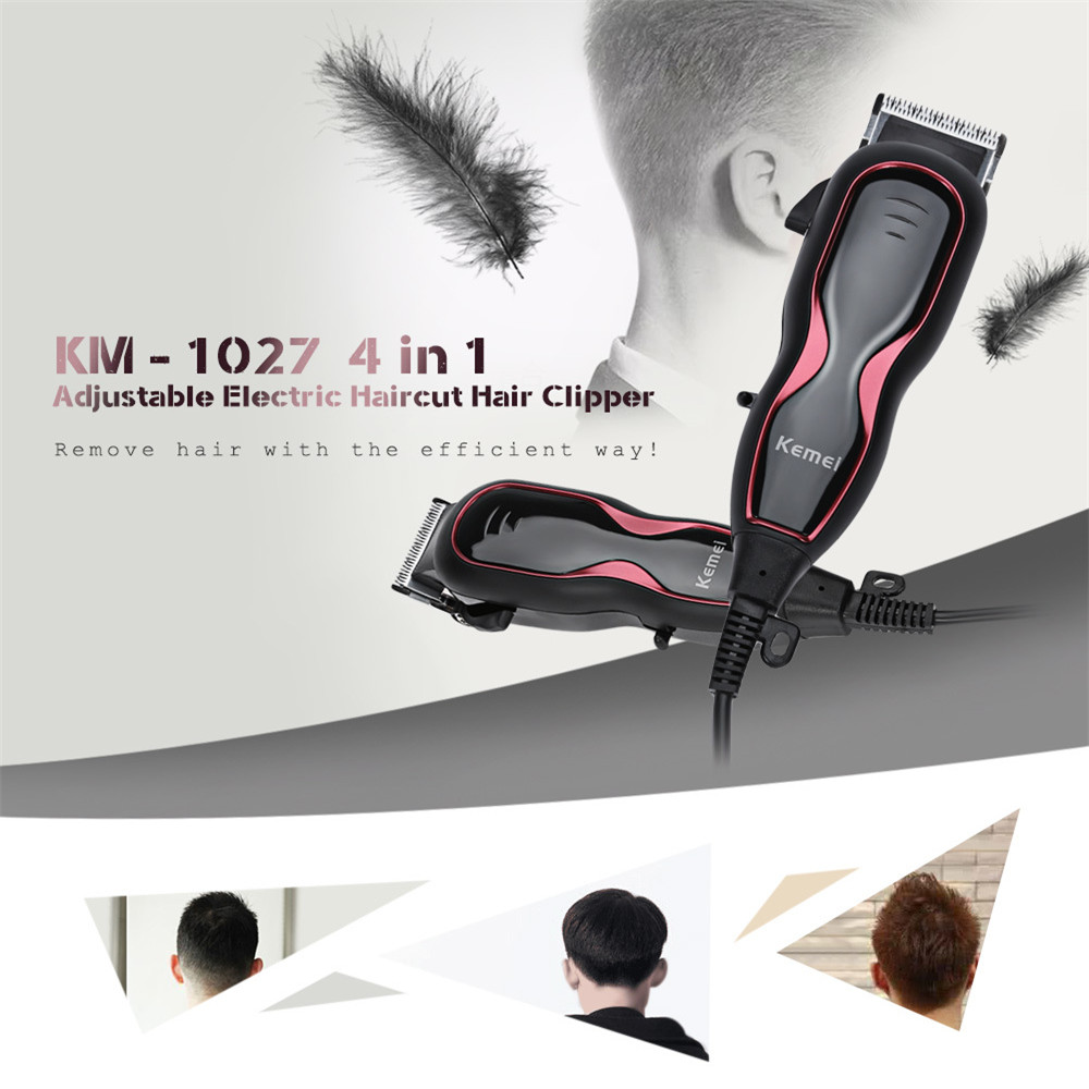 Kemei KM l027 Professional Hair Trimmer 4 In 1 Hair Clipper Shaver Sets Electric Shaver Beard Trimmer Hair Cutting Machine kemei 5 in 1 electric hair clipper men s electric trimmer professional hair cutting machine nose haircut shaver razor remover