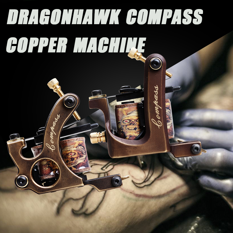 Free Shipping 2 pcs Pure Copper Tattoo Guns 10 Wraps Liner And Shader Top Quality Tattoo Machine Set top quality customs handmade tattoo machine kit 10 wraps coil zinc alloy machine for liner and shader free shipping tm 1114
