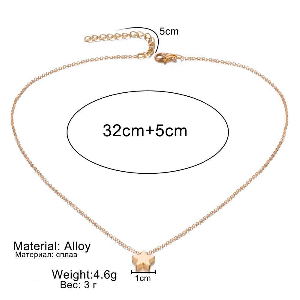 Moda gwiazda choker naszyjnik kobiety biżuteria choker złoty srebrny gwiazda naszyjnik na szyi łańcuch Bijoux Collares Mujer