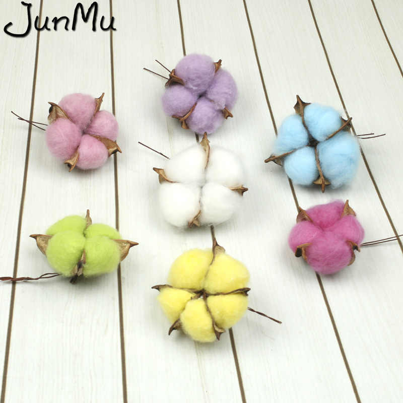6pcs Cotton Head Artificial Flowers DIY Christmas Wreath Accessories Home Natural Dried Flower Garland Flower Wall Material