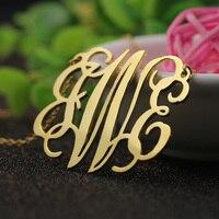 45mm Three Initals Monogrammed Name Custom Necklace Handmade Trendy Pendant 925 Silver Jewelry Bridesmaid Gift