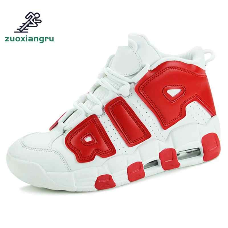 Large Size 36-44 Basketball Shoes Men Leather High-top Sports Air Sole Boots Women Mens Comfortable Breathable Sneakers