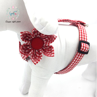Red Dog Harness with Flower Basic Dog Leash Adjustable Buckle Pet Gift