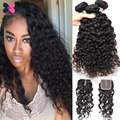 8A Water Wave Virgin Hair 3 Bundles With Closure Wet And Wavy Virgin Brazilian Hair Curly Weave Tissage Bresilienne Avec Closure