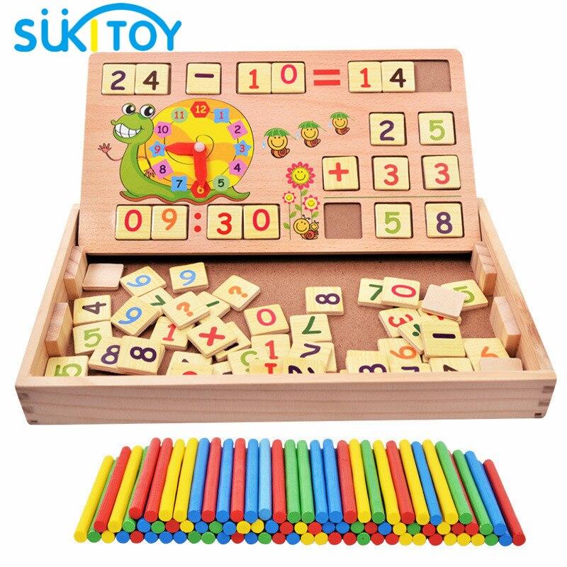 SUKIToy Matematica Montessori Di Legno Giocattolo educativo di cui 100 PZ Bastoni 70 PZ scheda digitale gioco da tavolo regalo per i bambini nuovo anno