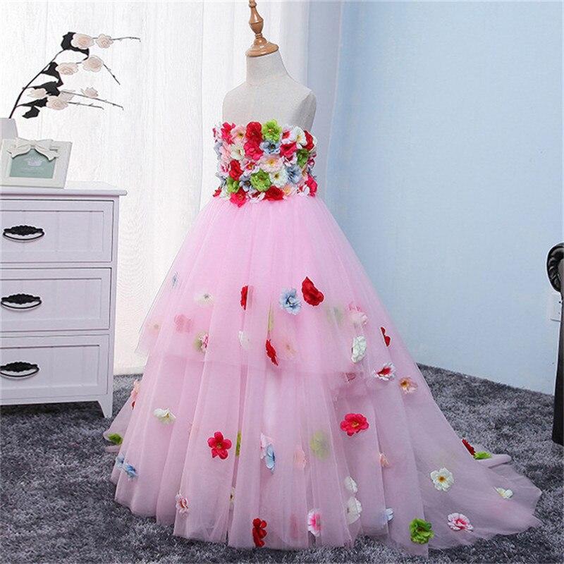 Элегантный детей младенцев слинг Нарядное платье без рукавов девушки дети розовый одежда для свадьбы, дня рождения принцесса цветы костюм