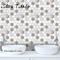 ISHOWTIENDA 10 pz/set Marble Texture Stile Autoadesivo Piastrelle di Arte Pavimento Adesivo Sticker FAI DA TE Cucina Bagno Decor Vinyl