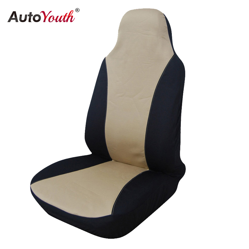 AUTOYOUTH Beige High Back Bucket Car Seat Cover Universal