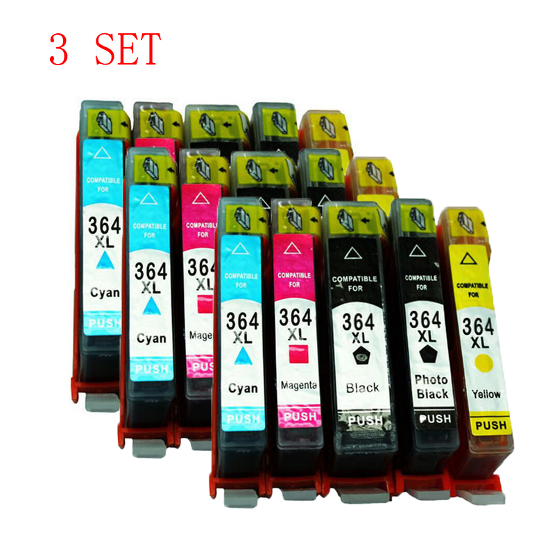 3 Set 15 Pcs H364 364XL Ink Cartridge ForHP Photosmart 5510 5520 5515 5524 6510 6520 7510 7520 e-All-in-One Printer High Quality