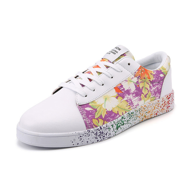 2017 Platform Shoes Woman Graffiti Shoes For Students Lace Up Flats Casual Women ink Painting Flower Shoes Plus Large Size