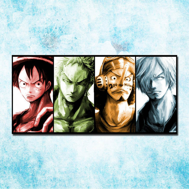 One Piece Japanese Roronoa Zoro Nami Usopp Sanji Poster Print 13×27 32×57 Inches Wall Pictures Home 02-08