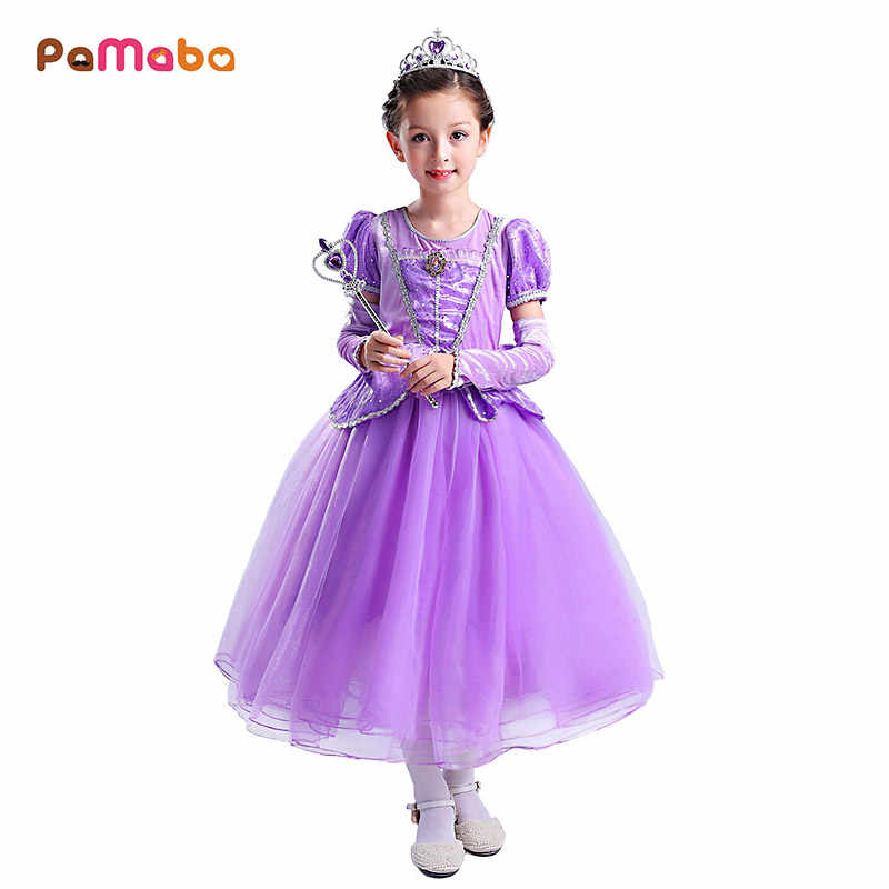 PaMaBa 5Pcs Girls Sofia Dress Outfit Children Princess Costume Gown  Sequined Puff Sleeve Birthday Party Frocks f25de7504d70