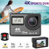 Cámara de Acción de pantalla táctil Ultra HD 4K Wifi 1080P pantalla Dual 170D Go impermeable Pro cam 4K Cámara deportiva Mini DVR Control remoto
