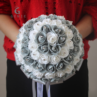Genie Neuen Hochzeitsblumen Brautsträuße Grau Künstliche Schaum Rose Satinband Bögen Dekoration Pfingstrose Blumensträuße für Brautjungfern