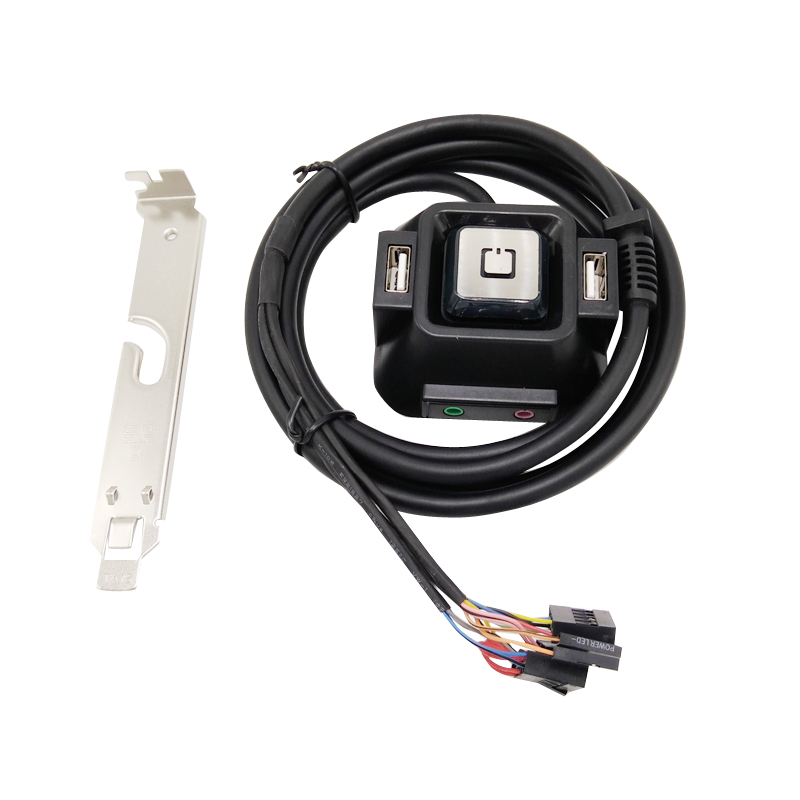 PC Desktop Computer Power ON/OFF Reset Switch Button Starter double USB Audio Microphone Port Cable Rear Bracket 1.2m