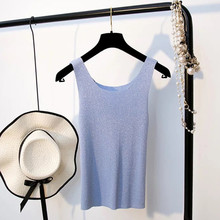 Sliver Thread Tank Tops2018 Sexy T-shirts Fashion Lady Tank Top Solid Comfortable Knit Sleeveless Camisole Tops Women's Vest