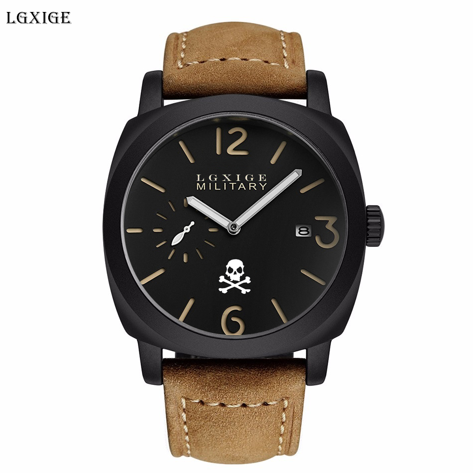 LGXIGE Skull Men Wrist Watch Genuine Leather Military Watch Men Army Retro Fashion Male Clock 2018 Halloween Gift relojes hombre