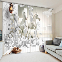 2017 Blackout Window The brave horse 3D Curtains For Bedding room Living room Blackout Cotinas Drapes