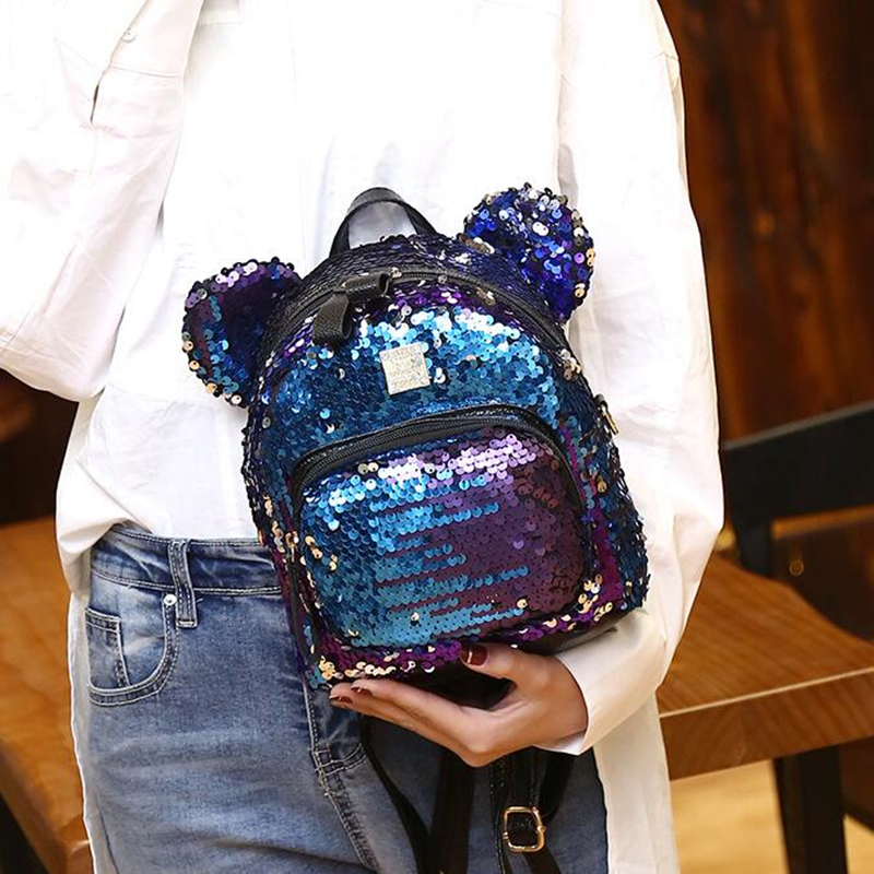 Women Bling Sequins Backpack Cute Big Mickey Ears Double Shoulder Bag Women Mini Backpacks Children Girls Travel Bag 2018 2017 small fresh mini shoulder bag with three pairs of ears can replace the small backpack cute modeling trend backpack y088
