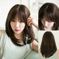 35CM Clearance sale Black Brown Synthetic Wigs Neat Bangs Female Wig Medium Long Straight Full Cosplay Daily  WM0619111