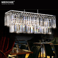 Rectangle Crystal Chandelier Light Fixture Modern Hanging Suspension Drop Lamp for Dining room Lustres Luminaire Fitting