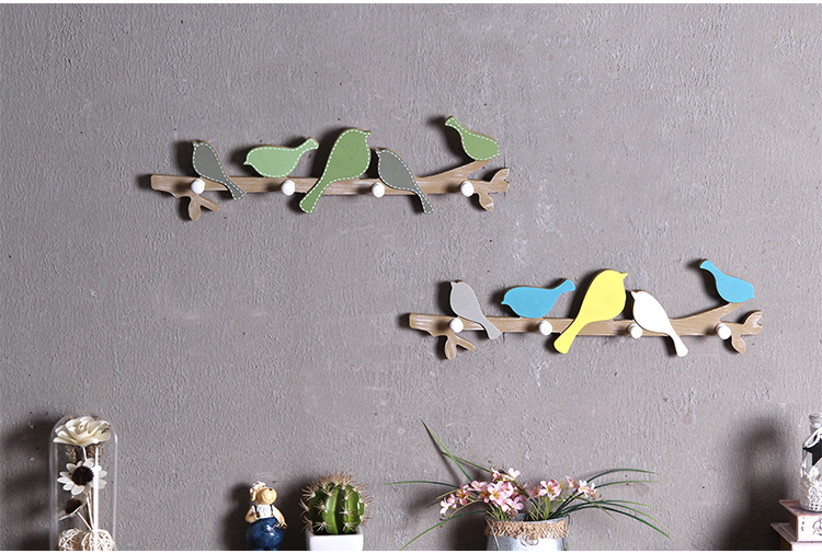 1PC New Creative Woody Bird Hooks Children Bedroom Hangers Wall Decoration Wall Hanging Clothes Hooks ME 001