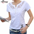 Plug Size New Arrival  Fashion Tops 2016 Women Lace O-neck Hollow Out Print Female T-Shirt 800312