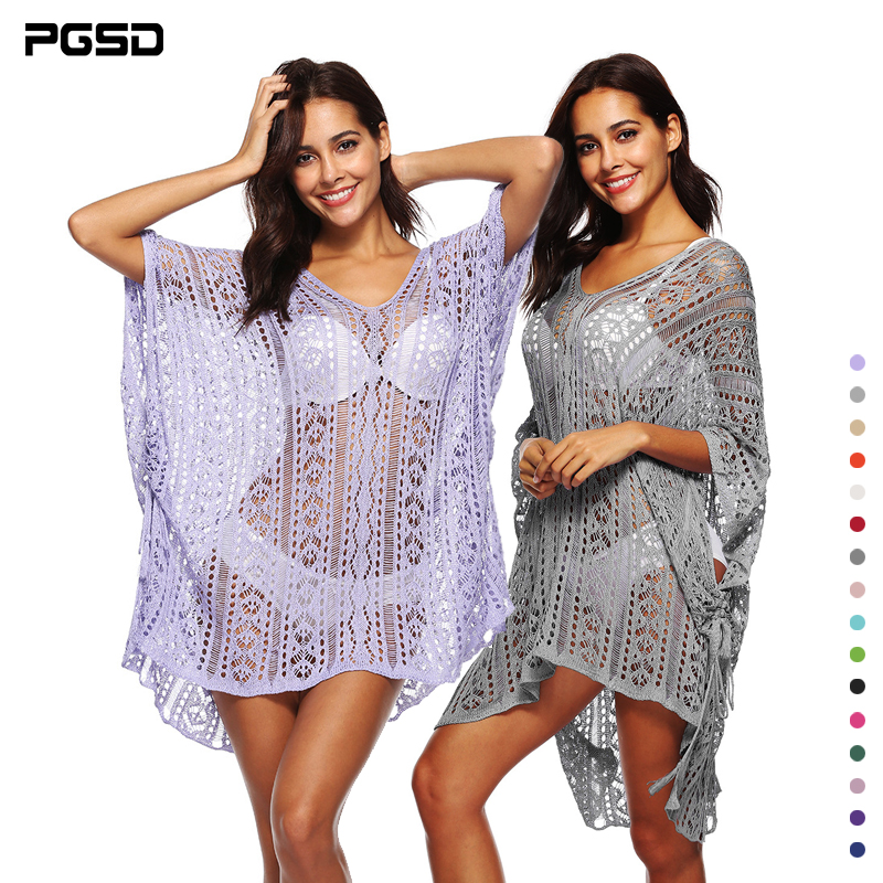 PGSD New Female crochet hollow out Splicing V collar bat sleeve irregular beach dress Pure color knitting sexy Sunscreen
