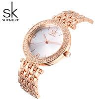 SK Top Brand Luxury Rhinestone Watch Women Watches Rose Gold Watch Full Steel Fashion Minimalist Watches