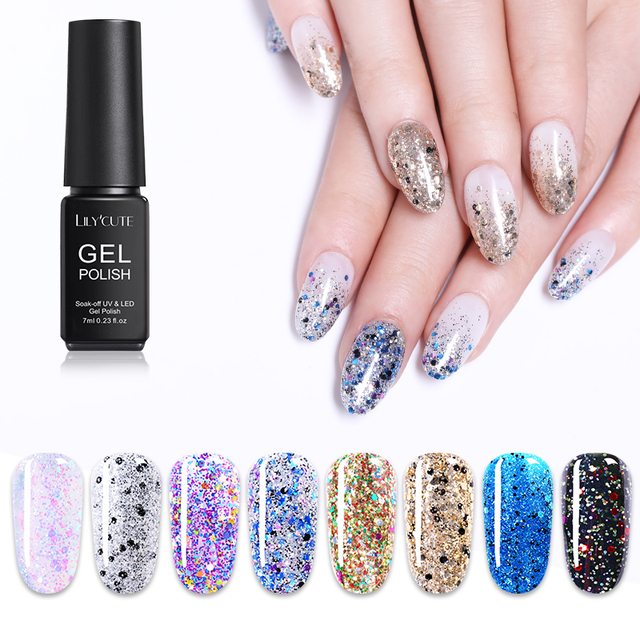 LILYCUTE 7ml Colorful Glitter Sequins UV Gel