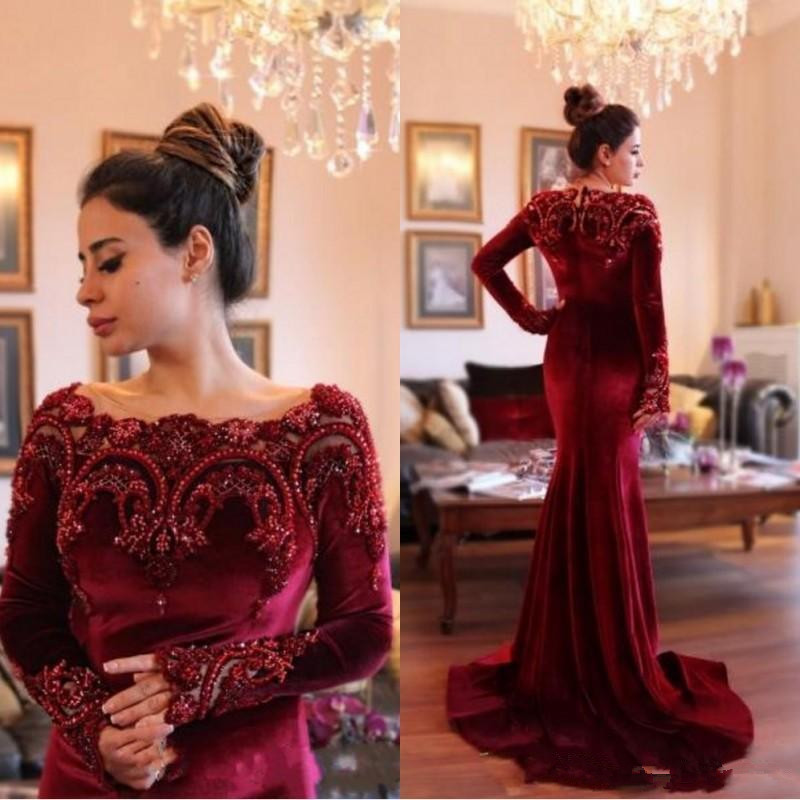 Burgundy Muslim   Evening     Dresses   2019 Mermaid Long Sleeves Velvet Lace Pearls Islamic Dubai Saudi Arabic Long   Evening   Gown Prom