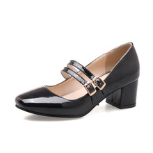 autumn fashion mary janes women pumps high quality patent leather square heel leisure ladies shoes