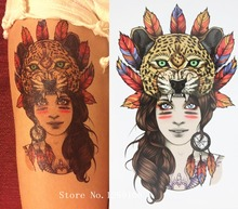 Girl With Panther Leopard Head Tattoo 21 X 15 CM Sized Sexy Cool Beauty Tattoo Waterproof Hot Temporary Tattoo Stickers