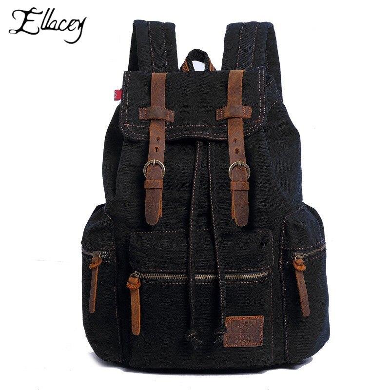 цена на New Fashion Men's Backpack Vintage Canvas Backpack School Bag Men's Travel Bags Large Capacity Travel Laptop Backpack Bag