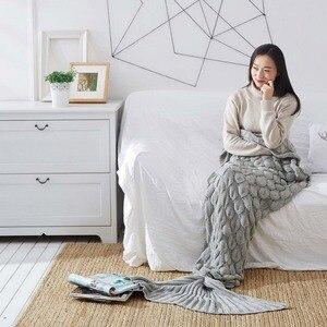Image 3 - ハンドメイドニット人魚の尾毛布大人/子供かぎ針ニットキャンディーカラーの魚のthrowベッドラップソファ足掛け布団睡眠バッグ