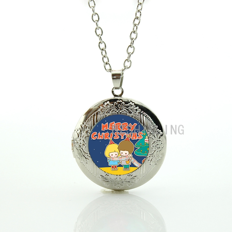 Cute Children Merry Christmas Locket Necklace Fashion Winter Holiday Jewelry Xmas New Year Gifts For Women Girls Boys Kids Cm161