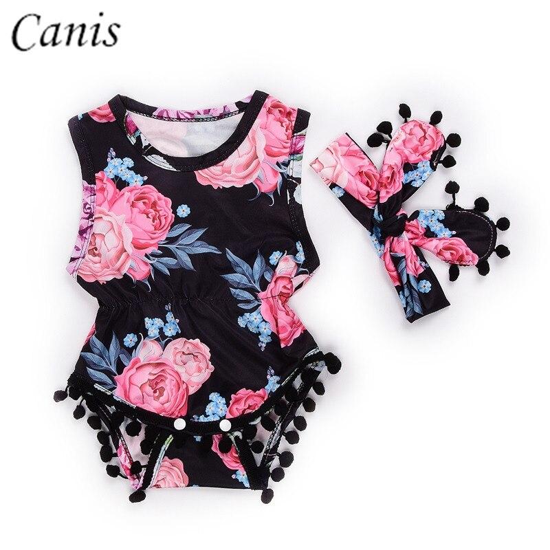 0-24 M Pasgeboren Zuigeling Meisje Kleding Bloem Kwastje Zwarte Romper Jumpsuit Sunsuit Outfit Hoofdband Set