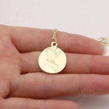 1pcs Earth Necklace Necklaces & Pendants World Continent America Map Gold Choker Necklace Women Pendant Necklace Terre Lead Free