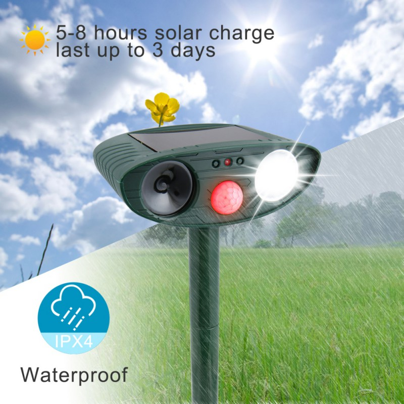 Solar Animal Drive Outdoor Ultrasonic Infrared Light Flash Drive Dog And Cat Ultrasonic Multi-Function Bird RepellerSolar Animal Drive Outdoor Ultrasonic Infrared Light Flash Drive Dog And Cat Ultrasonic Multi-Function Bird Repeller