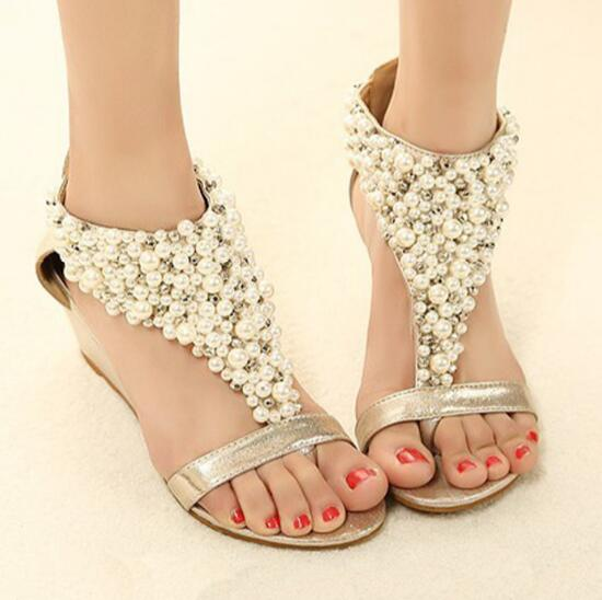 799c515fa4a3e Ladies sweet Summer flip flops with bead decoration low heels women wedges  beaded sandals rose gold black beach shoes -in Middle Heels from Shoes on  ...