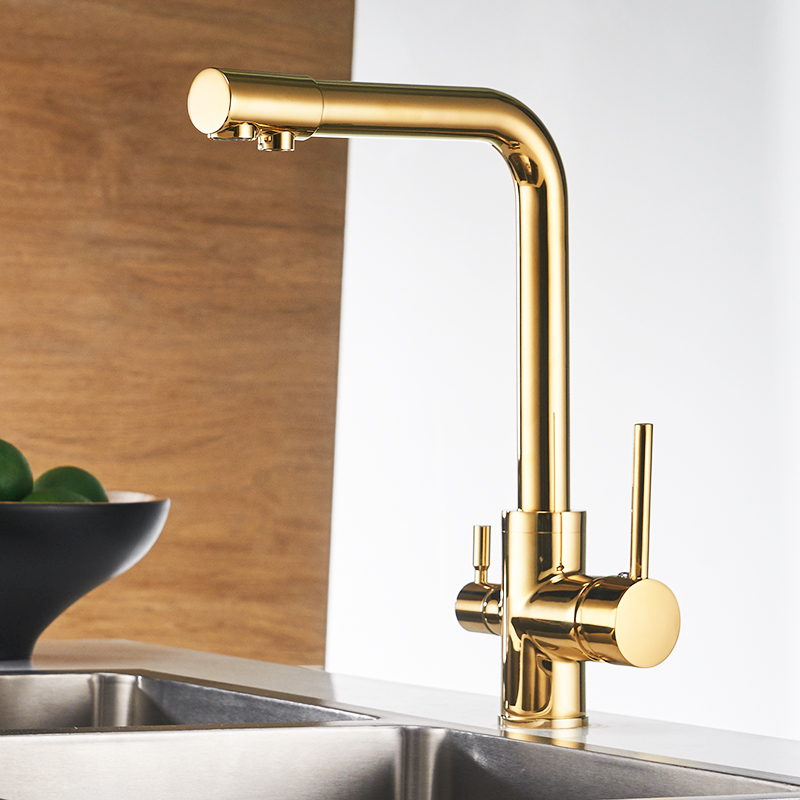 Kitchen Faucet Purified Water Purification Faucets Deck: Deck Mounted Mixer Tap 360 Degree Rotation With Water
