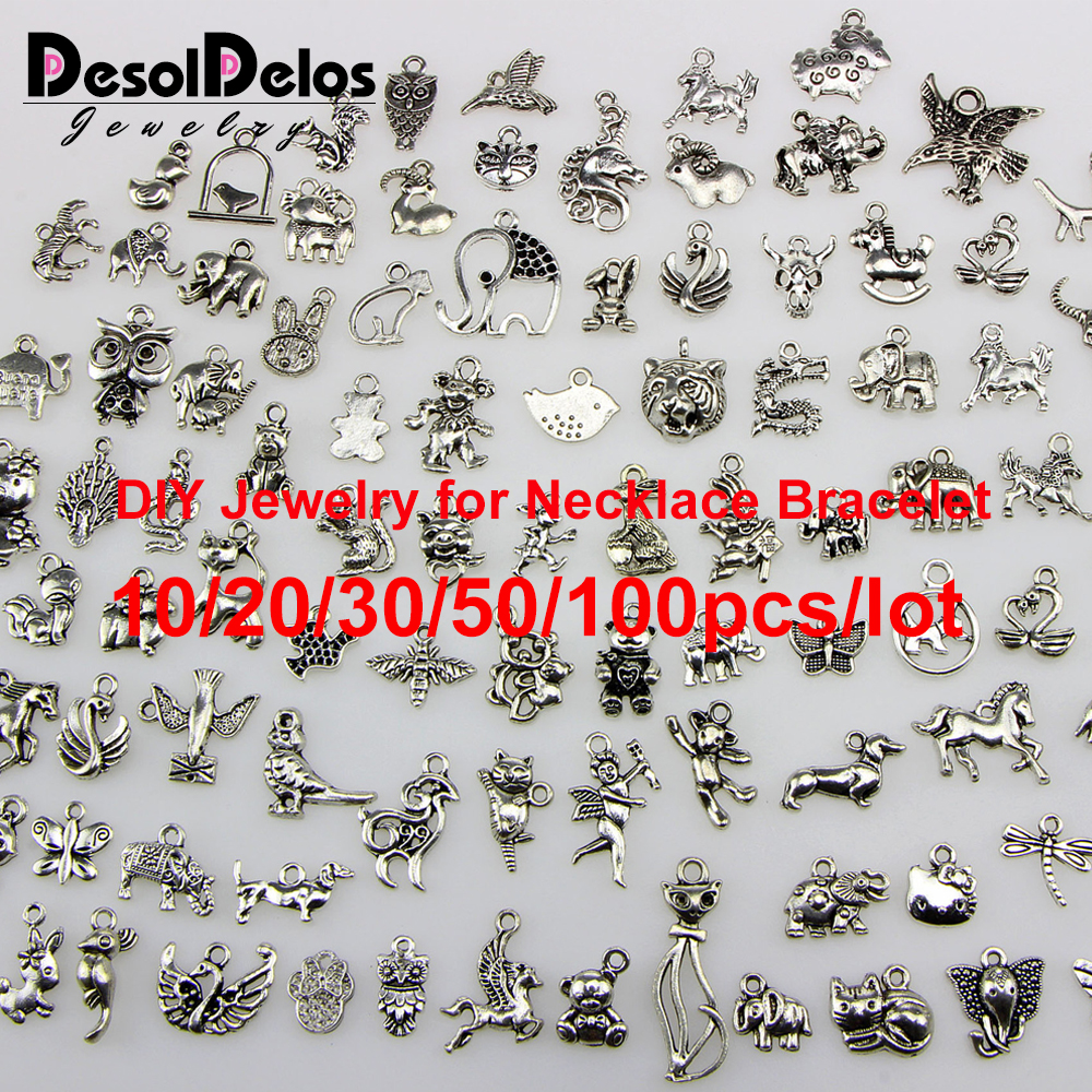 Tibetan Silver Mixed Styles Elephant Owl Tiger Charms Pendants DIY Jewelry for Necklace Bracelet Making Accessaries 2019