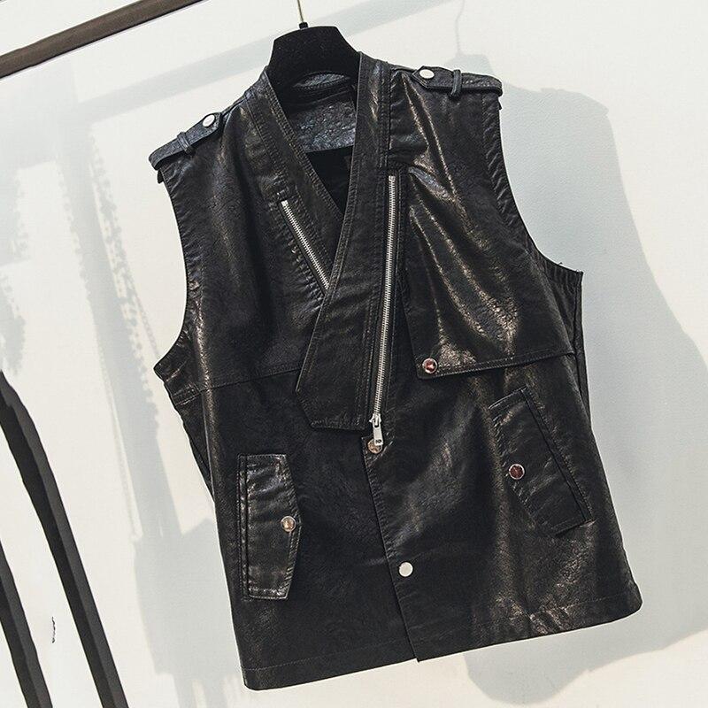 2019 printemps corée femmes noir PU gilet v-cou Slim sans manches vestes Faux cuir gilet Motobiker manteaux mode Streetwear
