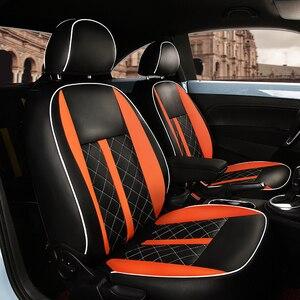 Image 3 - (2 przednie + 2 tylne) dostosowane pokrycie siedzenia samochodu wysokiej jakości skórzane pokrycie siedzenia samochodu dla Volkswagen Beetle akcesoria samochodowe stylizacji