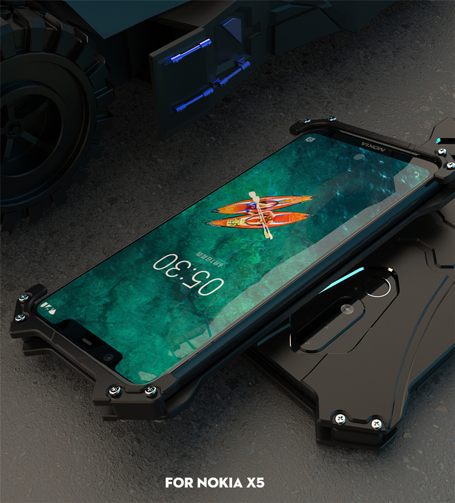 For Nokia X5 Case Original R-JUST Batman Armor Aluminum Metal For Nokia 5.1 plus Case Shockproof Coque (10)