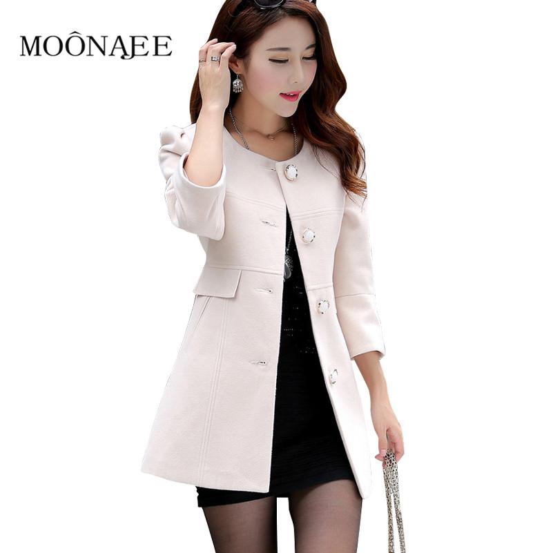 Primavera casacos de lã das mulheres outono inverno moda trincheira 3/4 Fino de manga longa casaco de lã feminino S-XXL QY15080305