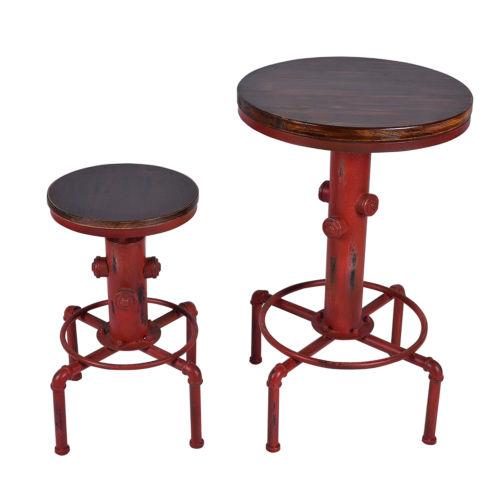 Set of Bar Table Combo With Bar Stool Industrial Swivel Fire Hydrant Design Adjustable Table and Chair Set dřevěné dekorace do dětského pokoje
