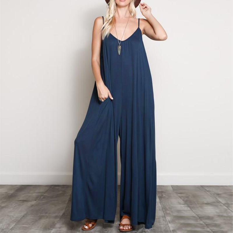 2019 ZANZEA Summer Women Sexy V Neck Strappy   Jumpsuits   Loose Wide Leg Pants Casual Solid Beach Rompers Party Long Overalls