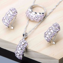 Pink Cubic Zirconia Inlaid Jewelry Set