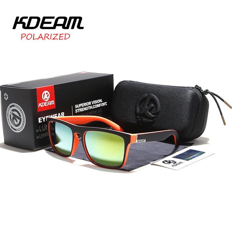 4a3764fc02 Gafas de sol polarizadas hombres 2019 KDEAM superior de lujo gafas de sol  de conducir marco cuadrado gafas de sol hombre espejo UV400 gafas TH-KD156
